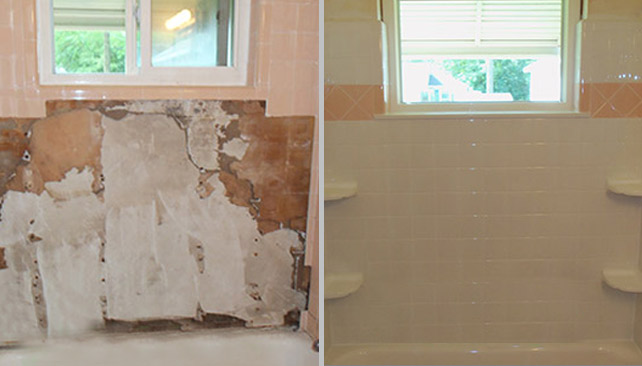 Bathroom Water Damage Before & After