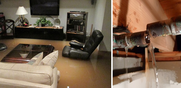 Water Damage Caused By Broken Pipe